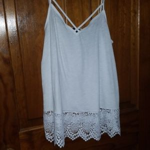Express tank top with lace trim detail